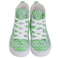 Skin2 White Marble & Green Watercolor (r) Kid s Hi Top Skate Sneakers