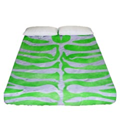 Skin2 White Marble & Green Watercolor Fitted Sheet (queen Size)