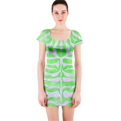 Skin2 White Marble & Green Watercolor Short Sleeve Bodycon Dress by trendistuff
