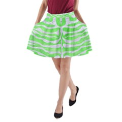 Skin2 White Marble & Green Watercolor A Line Pocket Skirt