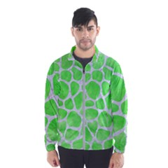 Skin1 White Marble & Green Watercolor (r) Windbreaker (men)