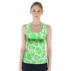 Skin1 White Marble & Green Watercolor (r) Racer Back Sports Top