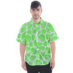 Skin1 White Marble & Green Watercolor (r) Men s Short Sleeve Shirt