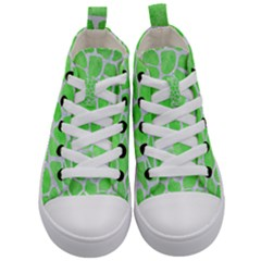 Skin1 White Marble & Green Watercolor (r) Kid s Mid Top Canvas Sneakers