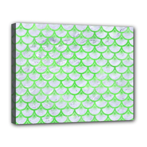 Scales3 White Marble & Green Watercolor (r) Canvas 14  X 11