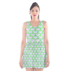 Scales3 White Marble & Green Watercolor (r) Scoop Neck Skater Dress