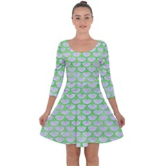 Scales3 White Marble & Green Watercolor (r) Quarter Sleeve Skater Dress