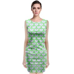 Scales3 White Marble & Green Watercolor (r) Classic Sleeveless Midi Dress