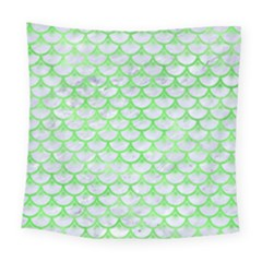 Scales3 White Marble & Green Watercolor (r) Square Tapestry (large) by trendistuff