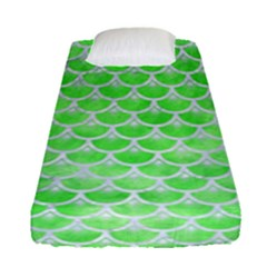 Scales3 White Marble & Green Watercolor Fitted Sheet (single Size)