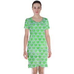 Scales3 White Marble & Green Watercolor Short Sleeve Nightdress