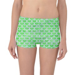 Scales3 White Marble & Green Watercolor Boyleg Bikini Bottoms