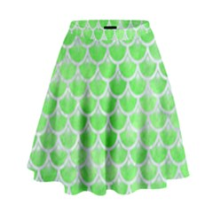 Scales3 White Marble & Green Watercolor High Waist Skirt