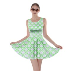 Scales2 White Marble & Green Watercolor (r) Skater Dress