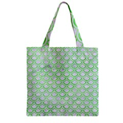 Scales2 White Marble & Green Watercolor (r) Zipper Grocery Tote Bag