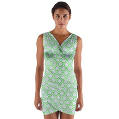 Scales2 White Marble & Green Watercolor (r) Wrap Front Bodycon Dress