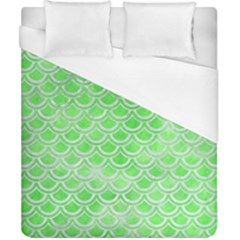 Scales2 White Marble & Green Watercolor Duvet Cover (california King Size)
