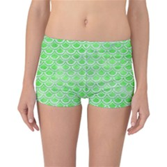 Scales2 White Marble & Green Watercolor Reversible Boyleg Bikini Bottoms