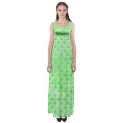 Scales2 White Marble & Green Watercolor Empire Waist Maxi Dress