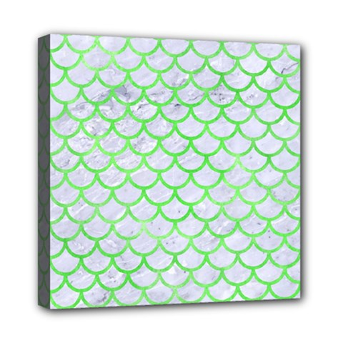 Scales1 White Marble & Green Watercolor (r) Mini Canvas 8  X 8