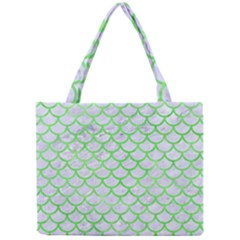 Scales1 White Marble & Green Watercolor (r) Mini Tote Bag