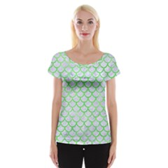Scales1 White Marble & Green Watercolor (r) Cap Sleeve Tops