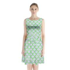 Scales1 White Marble & Green Watercolor (r) Sleeveless Waist Tie Chiffon Dress