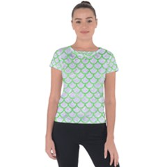 Scales1 White Marble & Green Watercolor (r) Short Sleeve Sports Top