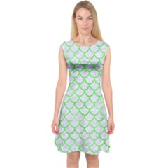 Scales1 White Marble & Green Watercolor (r) Capsleeve Midi Dress