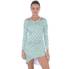 Scales1 White Marble & Green Watercolor (r) Asymmetric Cut Out Shift Dress
