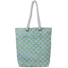 Scales1 White Marble & Green Watercolor (r) Full Print Rope Handle Tote (small)
