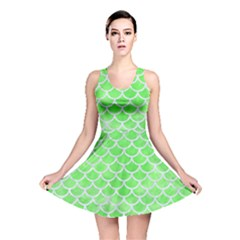 Scales1 White Marble & Green Watercolor Reversible Skater Dress