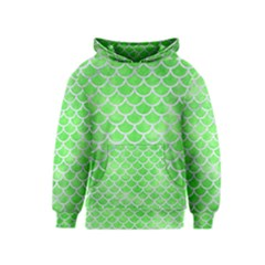Scales1 White Marble & Green Watercolor Kids  Pullover Hoodie