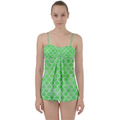 Scales1 White Marble & Green Watercolor Babydoll Tankini Set