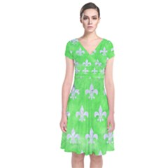 Royal1 White Marble & Green Watercolor (r) Short Sleeve Front Wrap Dress by trendistuff