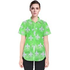 Royal1 White Marble & Green Watercolor (r) Women s Short Sleeve Shirt