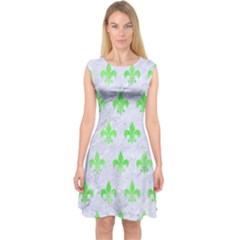 Royal1 White Marble & Green Watercolor Capsleeve Midi Dress