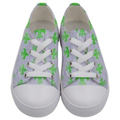 Royal1 White Marble & Green Watercolor Kids  Low Top Canvas Sneakers