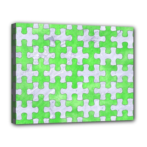 Puzzle1 White Marble & Green Watercolor Canvas 14  X 11