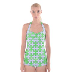 Puzzle1 White Marble & Green Watercolor Boyleg Halter Swimsuit