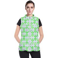 Puzzle1 White Marble & Green Watercolor Women s Puffer Vest