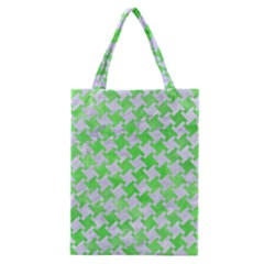 Houndstooth2 White Marble & Green Watercolor Classic Tote Bag