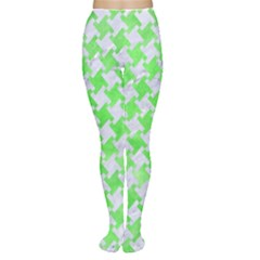 Houndstooth2 White Marble & Green Watercolor Women s Tights