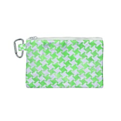 Houndstooth2 White Marble & Green Watercolor Canvas Cosmetic Bag (small) by trendistuff