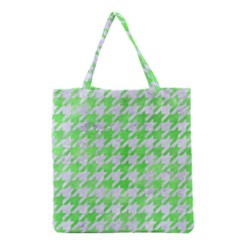 Houndstooth1 White Marble & Green Watercolor Grocery Tote Bag