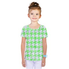 Houndstooth1 White Marble & Green Watercolor Kids  One Piece Tee