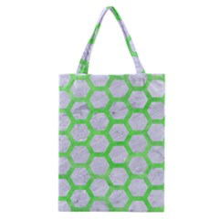 Hexagon2 White Marble & Green Watercolor (r) Classic Tote Bag