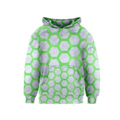 Hexagon2 White Marble & Green Watercolor (r) Kids  Pullover Hoodie