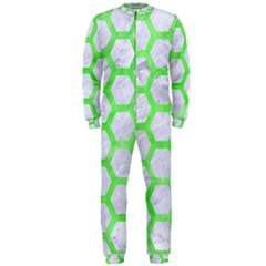 Hexagon2 White Marble & Green Watercolor (r) Onepiece Jumpsuit (men)