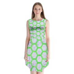 Hexagon2 White Marble & Green Watercolor (r) Sleeveless Chiffon Dress